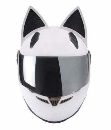 casco de moto con orejas de gato